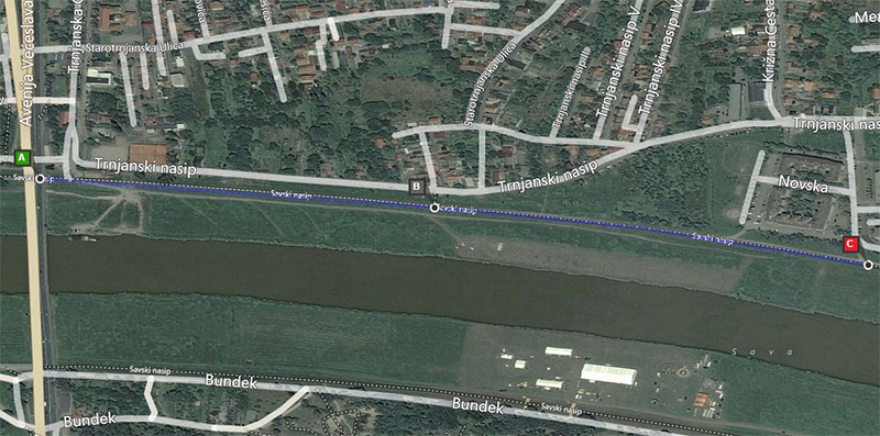Savski nasip - 1km